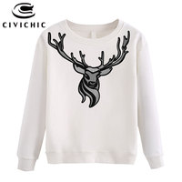 CIVI CHIC Hipster Pullover Deer Embroidery Patched Women Hoodie Spring Loose Sweatshirt Autumn Tees Winter Cotton