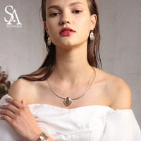 Fashion Women Necklaces Jewelry Necklace Map Shape Pendant Woman Chokers 925 Silver Necklaces New Arrival Exquisite Choker New