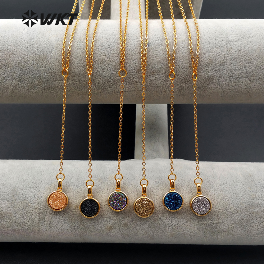 WT N1095 Wholesale Natural A gate Stone Pendant Plating Gold Chain Round Plating Titanium A gate