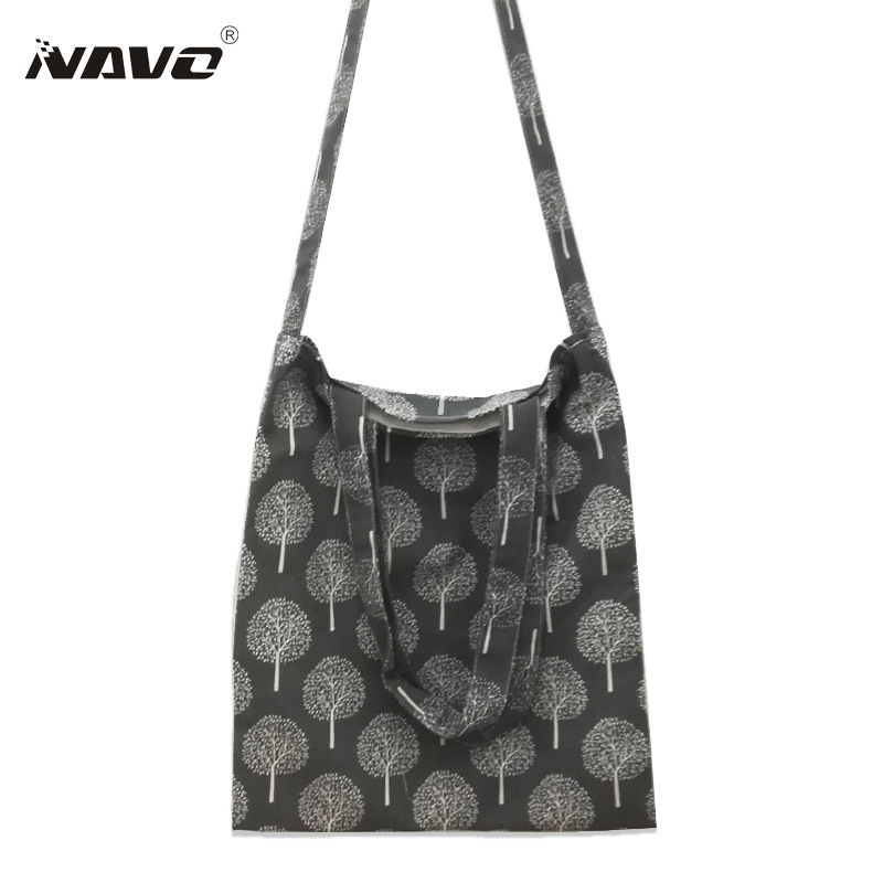 Grey beige Calico Bag Cotton Linen Shopping Tote Shoulder Carrying Bag Eco Reusable Bag Bolso Mujer