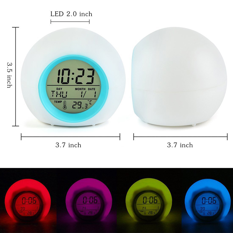 Relógio De Mesa Digital de 7 Cores LED Relógio para Crianças Relógio de Mesa Despertador Som Natural Calendário Frontal Decoração