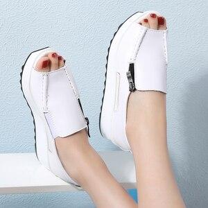 Image 3 - 2019 קיץ נשים פלטפורמת סנדלי נעלי עור אמיתי גבירותיי טריזי סנדלי בוהן פתוח רוכסן Sandalias נעלי נשים 8332
