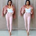 Solid Fashion Women's Suede Leather Pants Sexy High Waist Push Up Button Ankle Length Leggings Vintage Trousers
