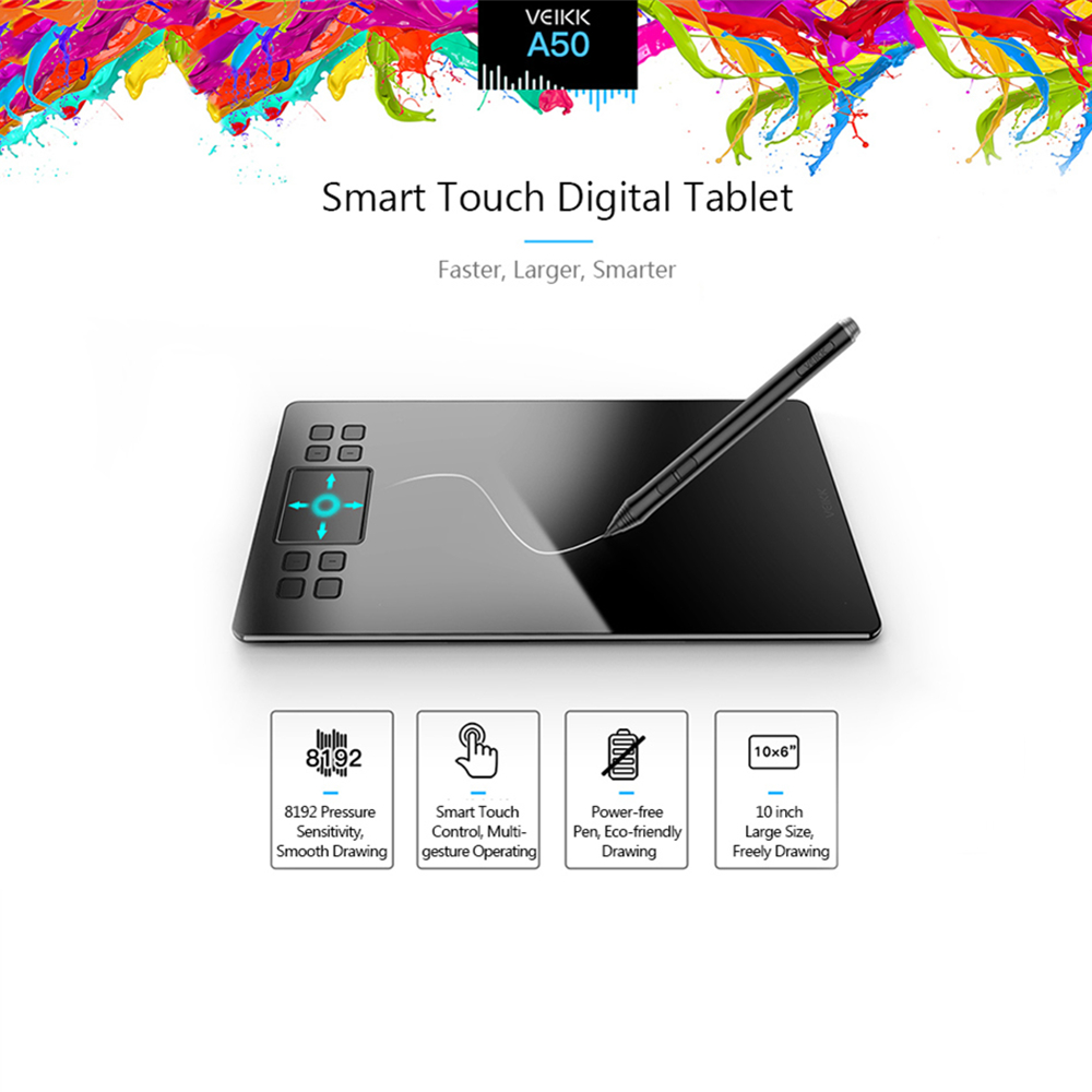 VEIKK A50 Graphics Drawing Tablet Digital Pen Panel 10 Inch Ultra-thin 8192 Levels Passive Graphic Tablet With Power-free Pen