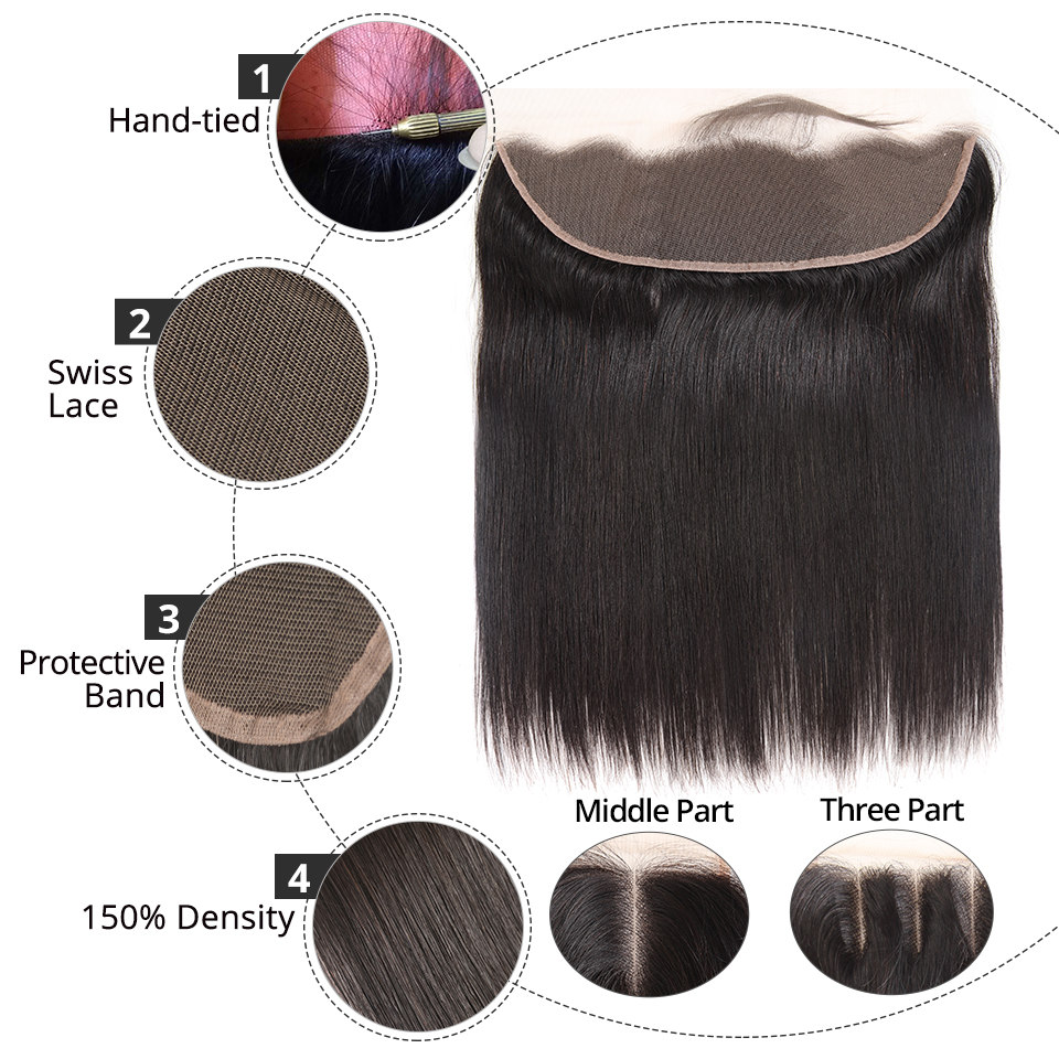 Brazilian Straight Human Hair Bundles With Lace Frontal Closure Pre Plucked 13x6 Lace Frontal With 3 Brazilian Straight Human Hair Bundles With Lace Frontal Closure Pre Plucked 13x6 Lace Frontal With 3 Bundles Remy AliPearl Hair