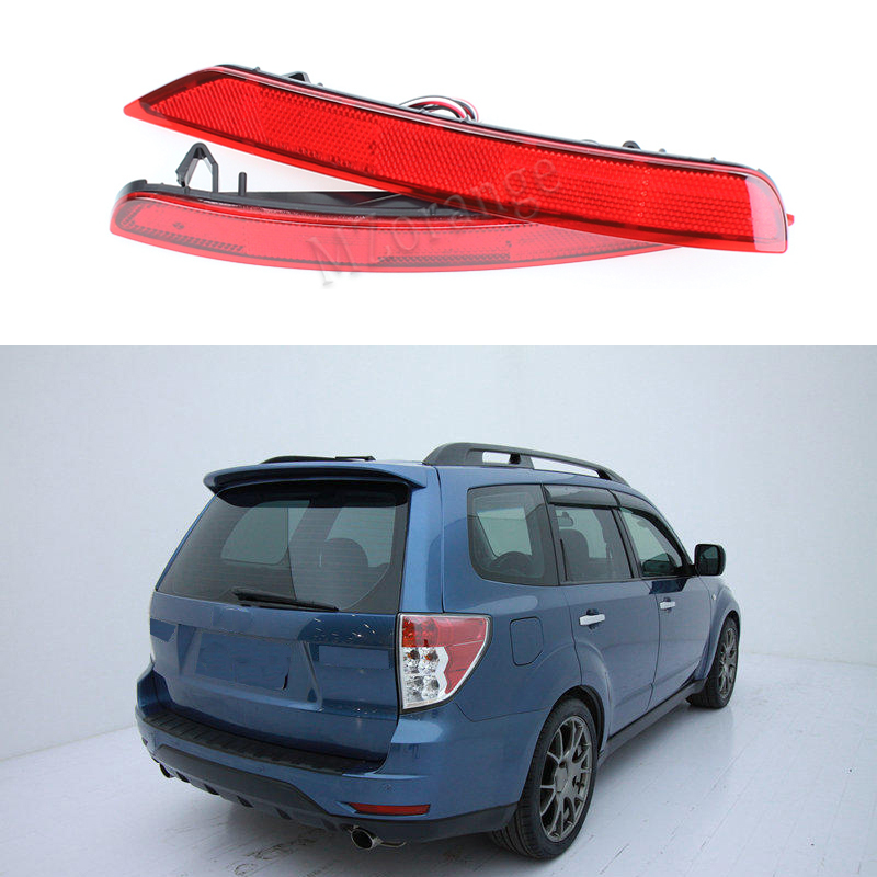 2PCS LED Rear Bumper Reflector Lights For Subaru Forester 2008 2017 Red Car Driving Brake lamps tail lights Trim Molding