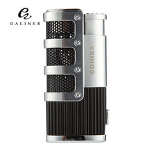 COHIBA Cigar Smoking Ligther w/ Built-in Cigar Punch Flame 3 Torch Cigarette Fire Lighter LC-84