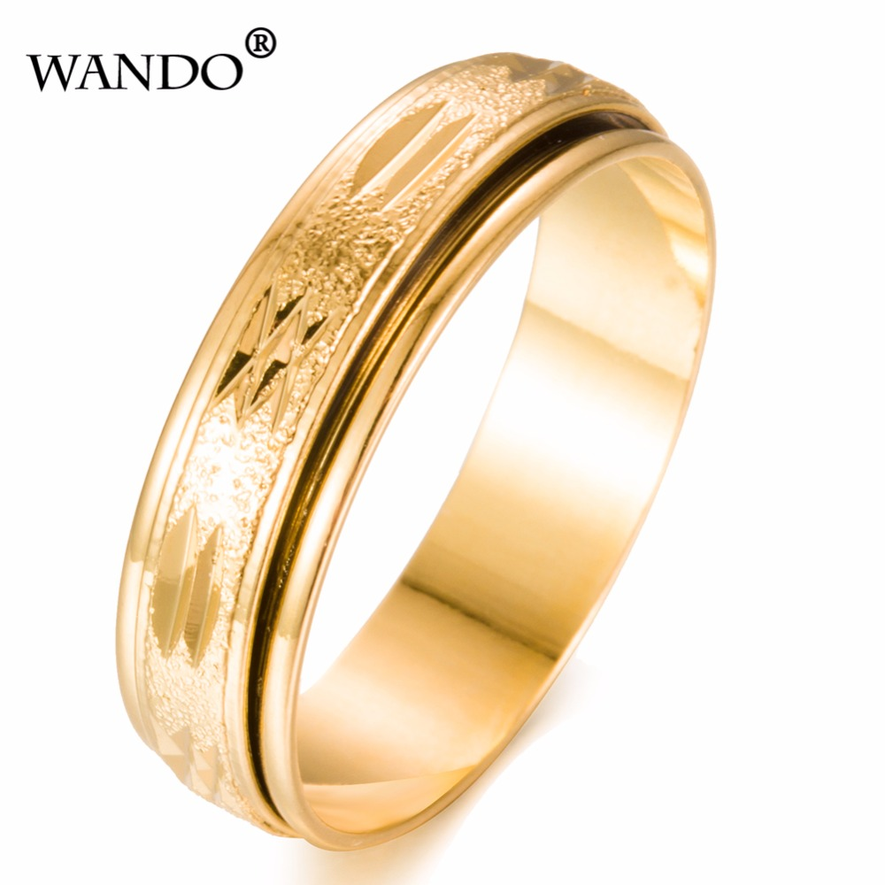 wando Golden can be rotated retro mens ladies lines rings wholesale couple Middle East Muslim India Ethiopian ring jewel WR36-7