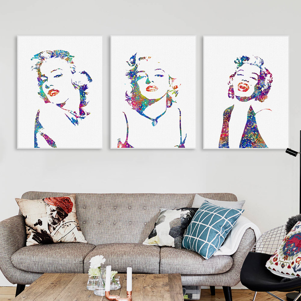 original watercolor marilyn monroe movie star vintage art print poster wall picture living room decor canvas painting no frame