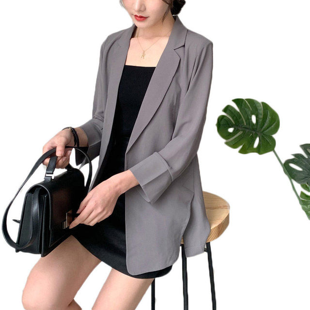Casual Korean Chiffon Blazer Women Jacket Spring Summer Solid Suit Ladies Loose Shirt Thin Coat Sunscreen Cardigans Tops f615