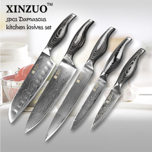 5 pcs chef knives set 73 layers Japanese VG10 Damascus steel kitchen knife set cleaver chef utility wood handle free shipping
