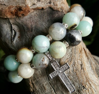 B151016556 Tibetan Dzi Agate Beads Pave CZ Tube And Cross Bracelets Set