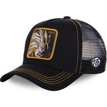 b26d7c22a04f3 New Dragon Ball Z Mesh Hat Goku Baseball Cap High Quality Black   Yellow Curved  Brim