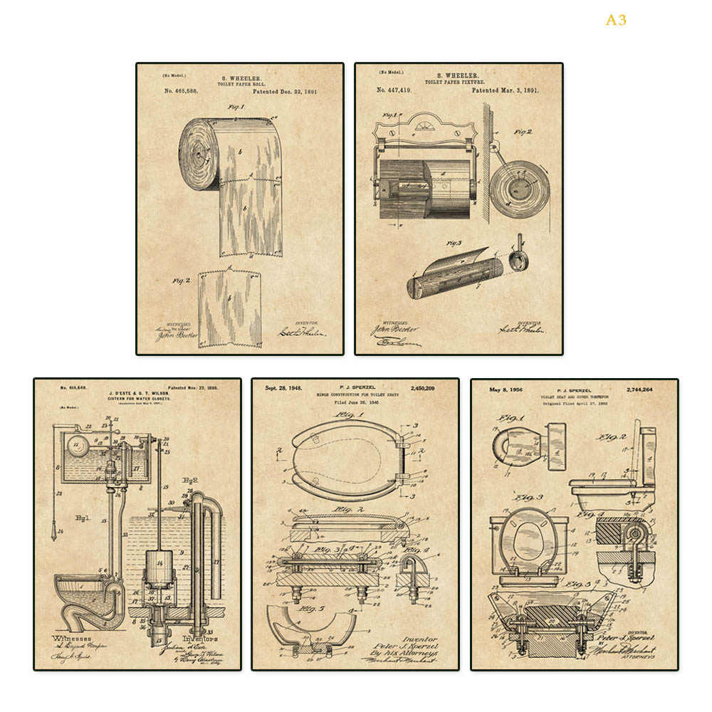 Vintage 1891 First Toilet Paper Roll US Patent Art Print READY TO FRAME!