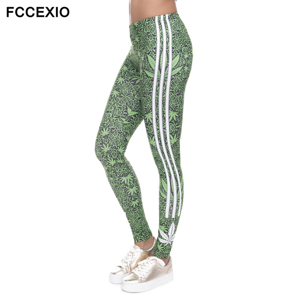FCCEXIO VIP 3D Leggings Weeds White Stripes Printing Fitness Legging Sexy Silm Legins High Waist Trouser Women Pants