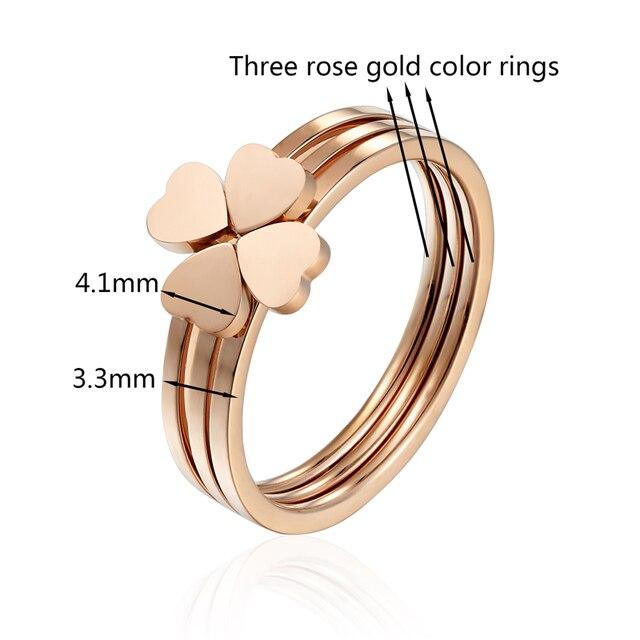 женское кольцо из нержавеющей стали с тремя сердечками классические фотография