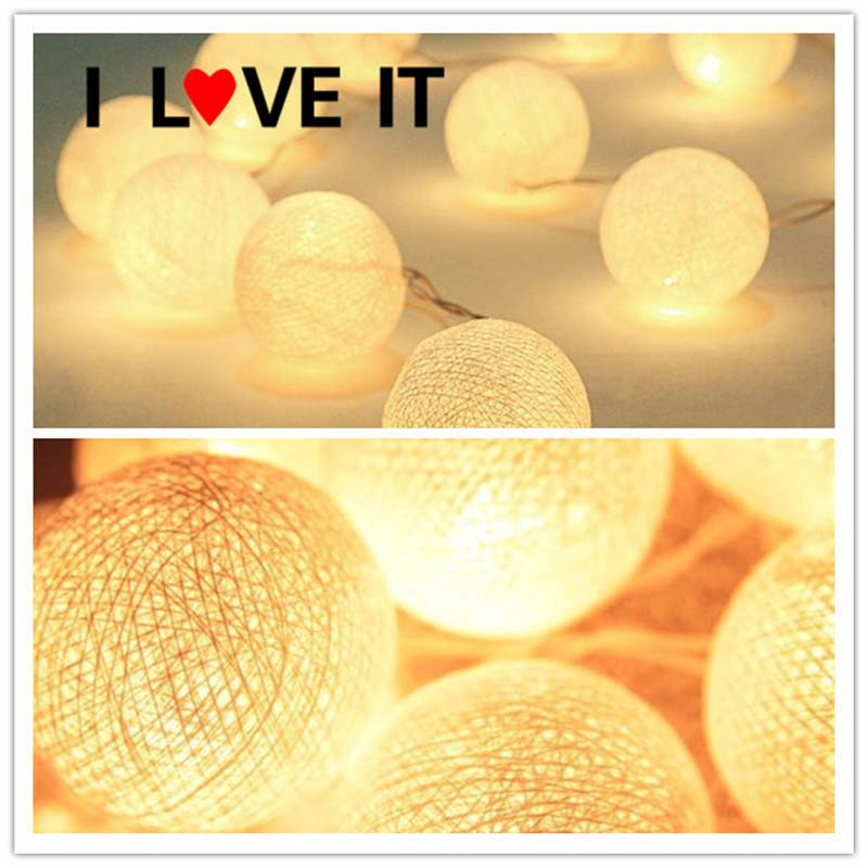2m 3m 4m 5m 10m Battery Operated Cotton Balls String Lights Christmas LED Garland Holiday Party Wedding Baby Kid Room Decoration