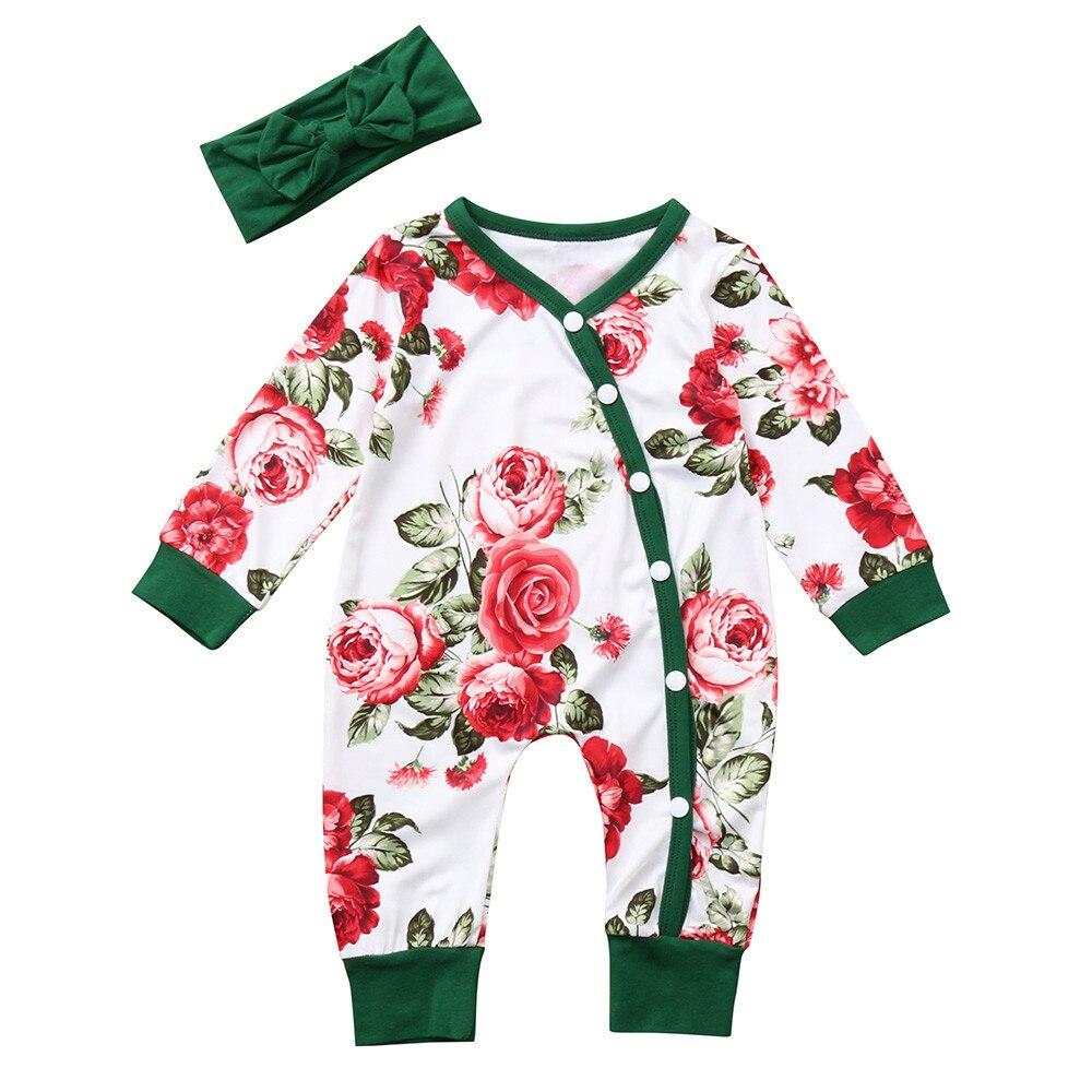 MUQGEW Newborn Baby Girls clothing set 2PCs  Flowers Print Romper+Headband Kids Winter Clothes toddler girl clothes roupas menin 1