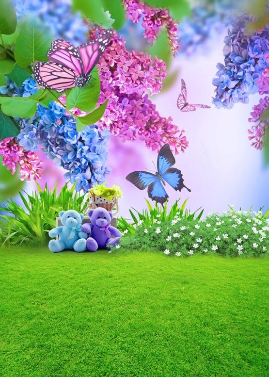 Spring scenic vinyl cloth butterfly flower green field ...