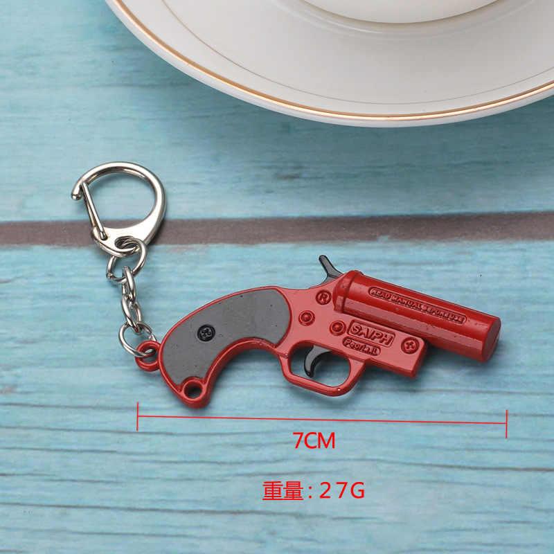 Sıcak oyun PLAYERUNKNOWN'S BATTLEGROUNDS Cosplay kostüm sırt çantası Pan bıçağı silah Metal modeli anahtarlık PUBG silah oyuncak