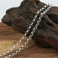 4mm 100% Pure 925 Sterling Silver Jewelry Chains Necklaces for Men Women Sterling Silver Necklace Accessories 18 32 inch