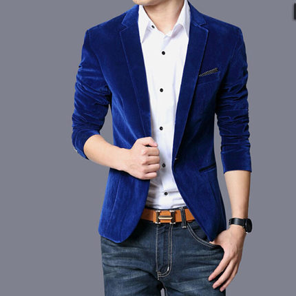 Korean men's small suit gold velvet suits casual men's autumn jacket men suit blazer masculino blue black red plus size M - 3XL
