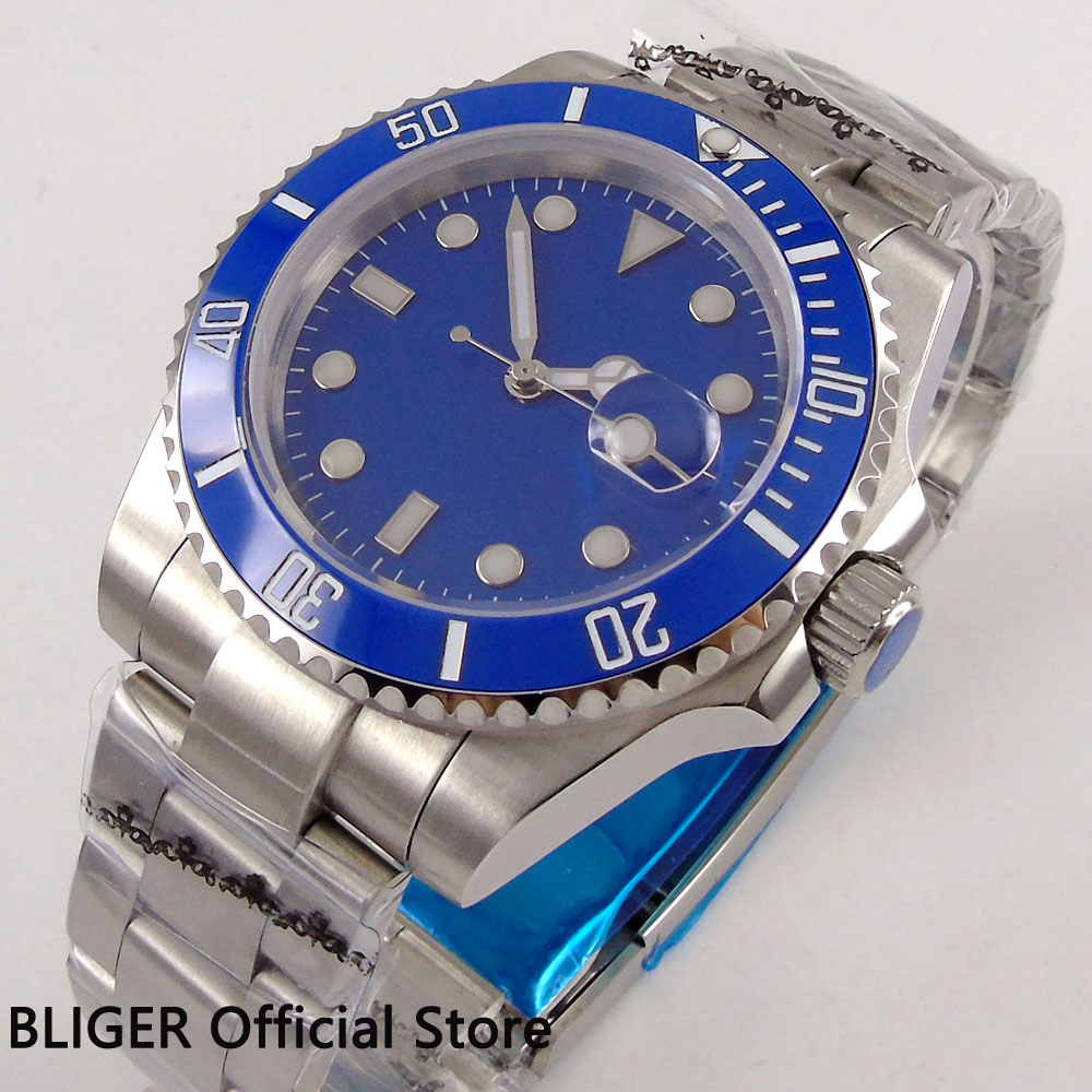 BLIGER 40mm Blue Sterile Dial Ceramic Rotating Bezel Luminous Marks Sapphire Crystal Miyota Automatic Movement Men's Watch B1