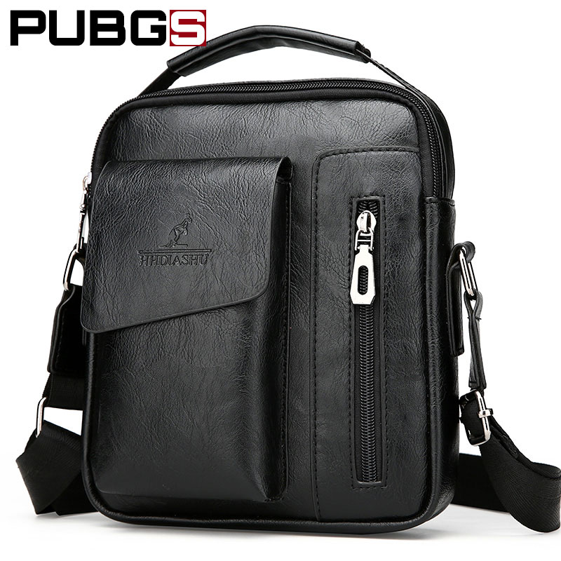 Men Shoulder Messenger Bag PU Leather Retro Small Bag Male Business Briefcase High Quality Designer Brand PUBGS 2018 New Arrival
