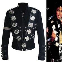 Редкий MJ Майкл Джексон BAD черный классический пиджак с серебряными значки с орлом Панк Металлический модный значок шерстяная одежда шоу подарок