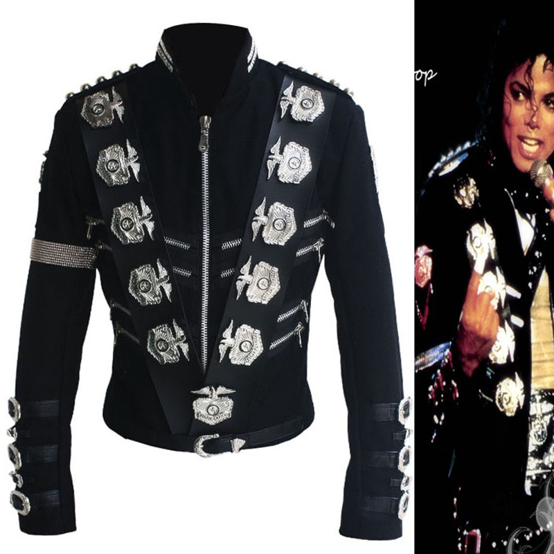 Rare MJ Michael Jackson BAD Black Classic Jacket With Silver Eagle Badges Punk Metal Fashion Badge woolen Clothing Show Gift cb 8008