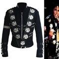 Rare MJ Michael Jackson BAD Clássico Preto Jaqueta Com Silver Eagle Emblemas Emblema Da Forma Do Punk Do Metal Mostrar Roupas de lã Presente