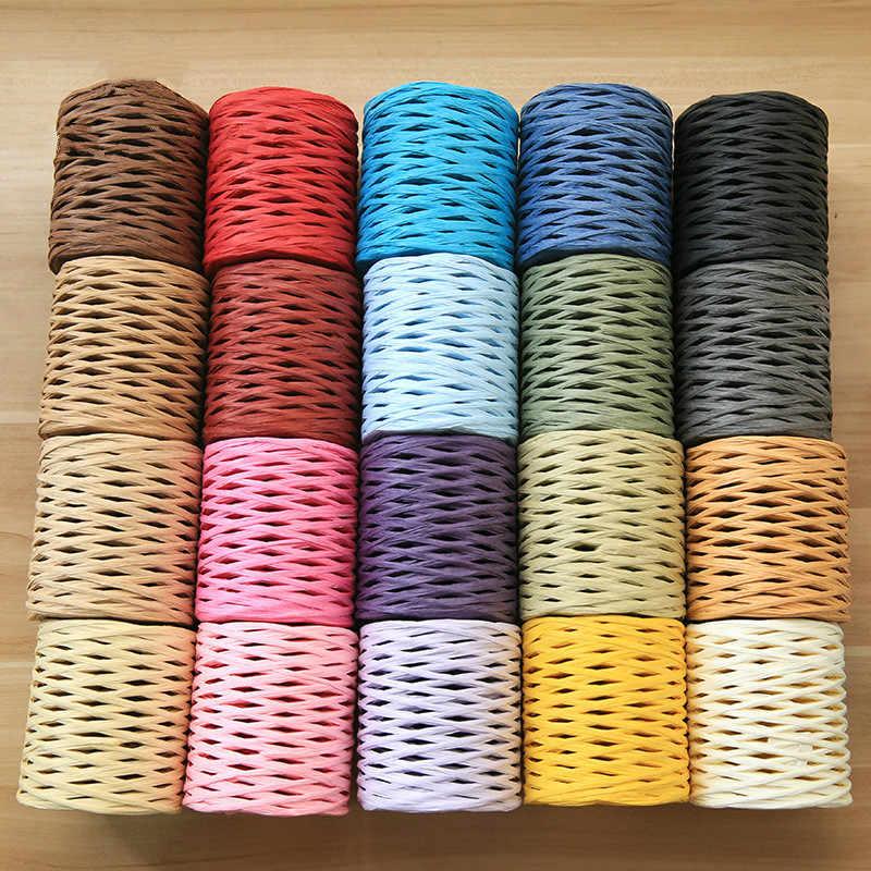 200 M/reel 100% Bast Stroh Garn Hand Häkeln Garn für Diy Handgemachte Hüte Handtaschen Kissen Verpackung Verpackung Material sup.