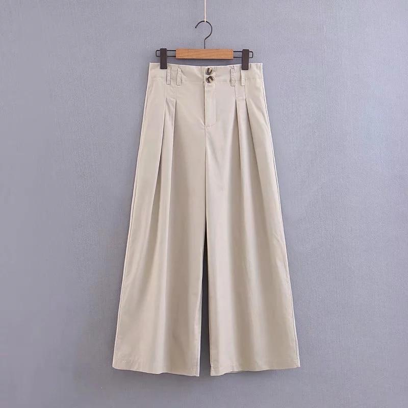 New Khaki Women Twill   Wide     Leg     Pants   2019 Spring-Autumn Fashion Ladies Loose High Waist Lycra Trousers Chic Girls pantalon femme