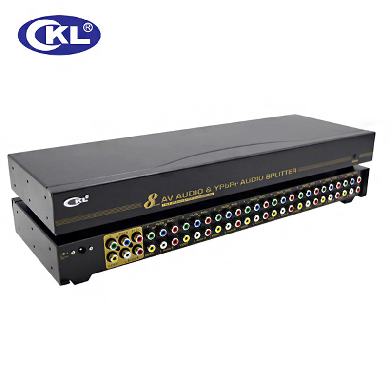 CKL 1 In 8 Out AYP Splitter 8 Port AV+YpbPr+Audio Splitter Supports 1080i 1600x1200&60Hz Metal AYP-108