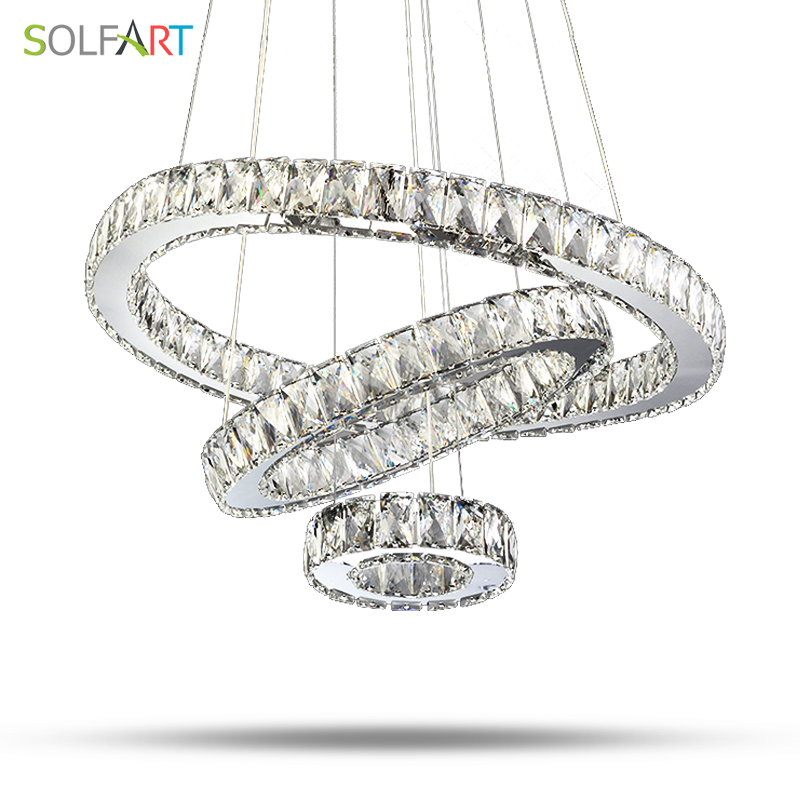 Lamp Parlor Pendant Lights Led luminaire Round Lamps Crystal  Stainless Steel  Lampara Hanglamp Modern Foyer For Room Dining a1 master bedroom living room lamp crystal pendant lights dining room lamp european style dual use fashion pendant lamps