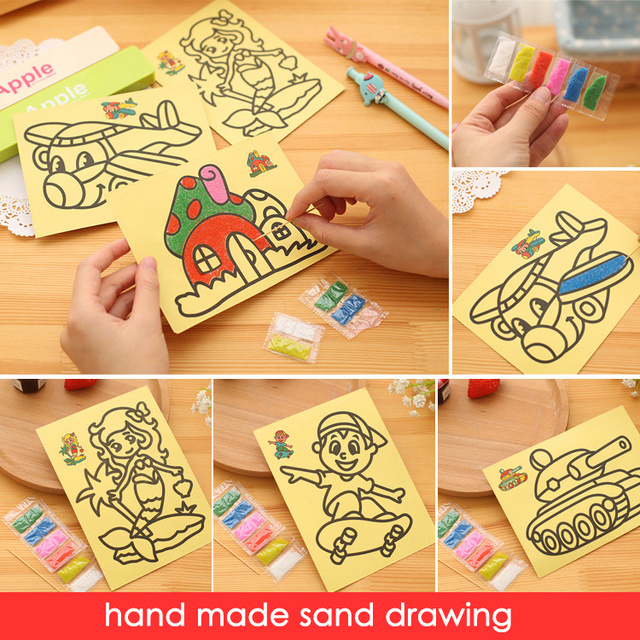 3pcs New Cute Drawing Toys 1216 Cm Sand Painting Pictures For Children Kids DIY