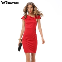 Witsources women OL work pencil dresses summer new fashion 2017 short sleeve bow neck slim waist skinny dress SD3729