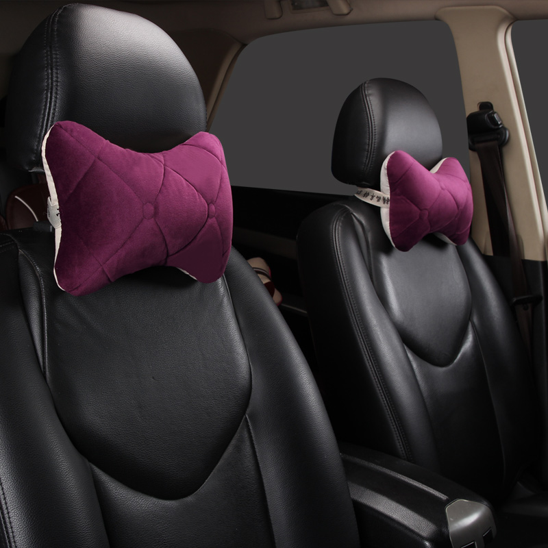 2pcs Black Red Auto Car Seat Headrest Cushion Pad Head Neck Relax Pillow