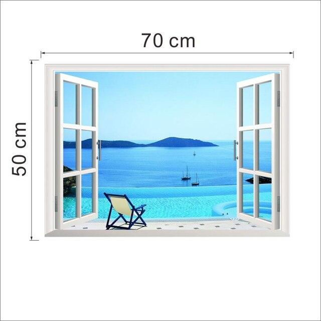 Sea Beach Island 3D Window Wall Stickers 10
