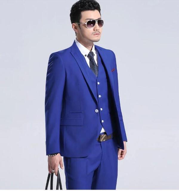 92d3b6865fc06 Yeni Yaz Düğün Için Mavi Renk erkek Takım Elbise Ince Tarzı Beyler Balo  Smokin (ceket