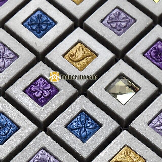 Blau Lila Gemischte Tief Grau Farbe Harz Mosaik Fliesen Für Küche  Backsplash Fliesen Badezimmer Dusche Flur