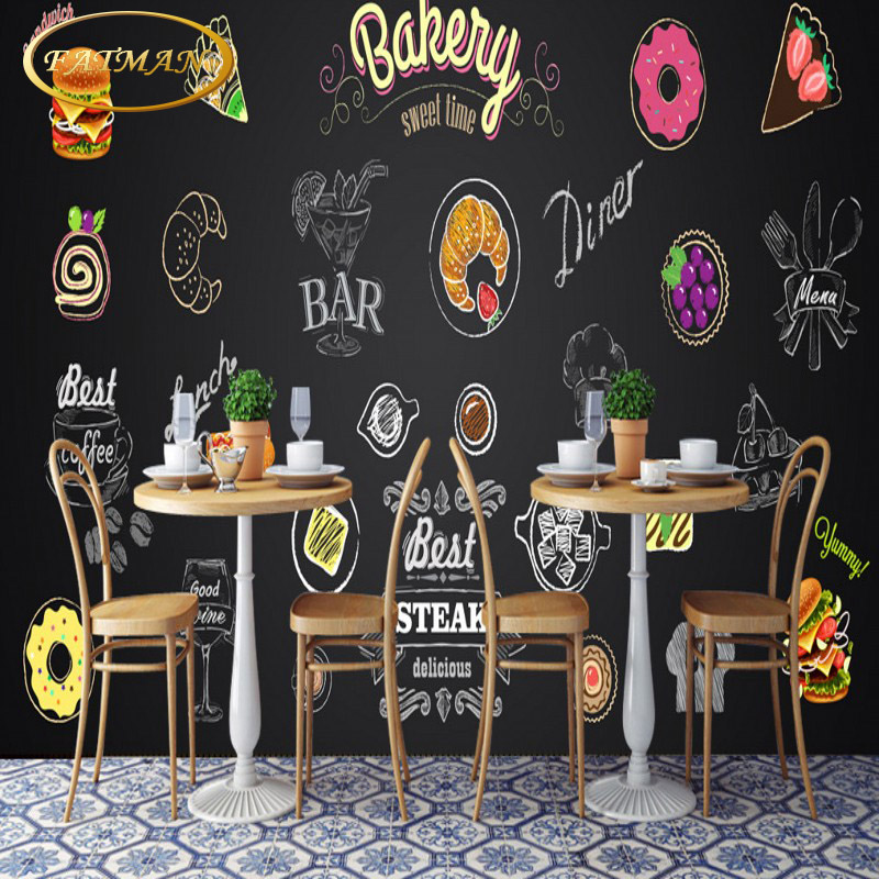 Blackboard Wallpaper Murals Food Wallpaper Murals Bistro: Custom 3D Photo Wallpaper European Style Blackboard
