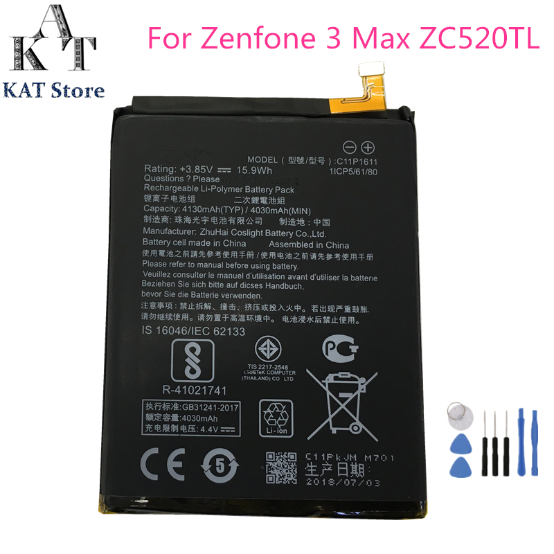 Mobile Phone Batteries Painstaking C11p1611 4130mah Phone Battery For Asus Zenfone 3 Max Z3 Max Zc520tl X008db Battery Replacement High Quality Aaa Gift Tools Soft And Light