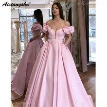 Розовые Длинные Выпускные платья с открытыми плечами, длина до пола, Формальные Выпускные исламские Дубай Кафтан Саудовской Аравии, вечерние платья 2019