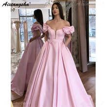 Pink Long Prom Dresses Off the Shoulder Floor Length Formal Graduation Islamic Dubai Kaftan Saudi Arabic Evening Dresses 2019