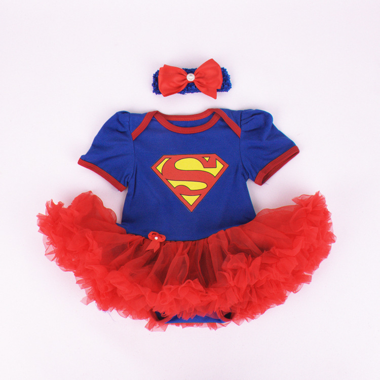 Cute Cartoon Batman Superman Baby Girl Bodysuits With Headband Infant Girls Dress Baby Clothings Outfit 2pcs Set