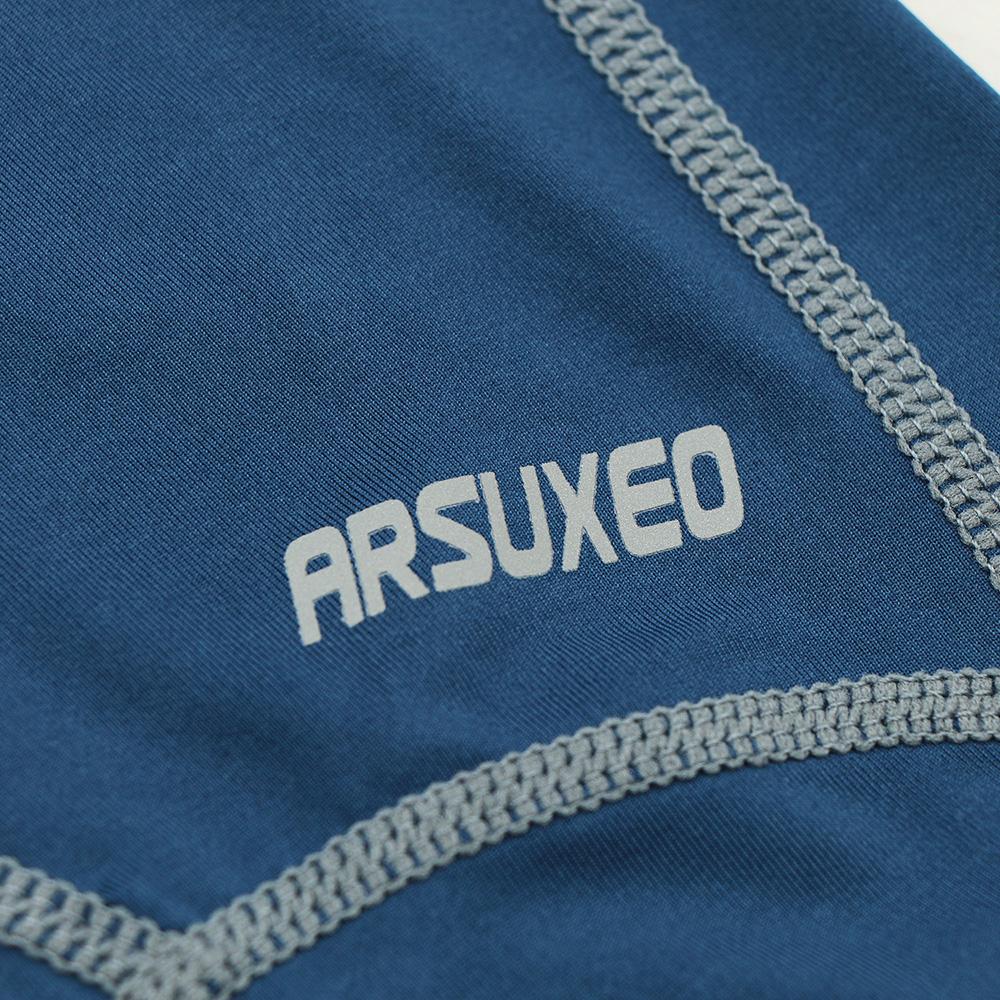 Meggings - leggings pour homme coupe 3/4 pantacourt de sport gym yoga bleu marine, zoom sur le logo