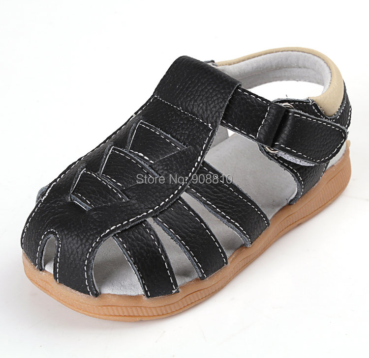 SandQ baby boy sandals genuine leather soft new summer for bebe meninas meninos first walker shoes black cinnamon for bare feet