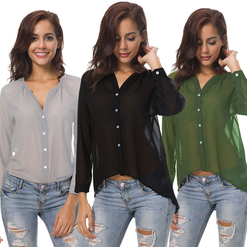 2018 Deep V-Neck  Chiffon Shirt Long Sleeve Casual Loose Top Female Office Plus Size Tops Oversize Solid Blouse