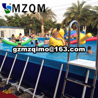 Commercial used big rectangular metal stents frame pool with water toys for water places